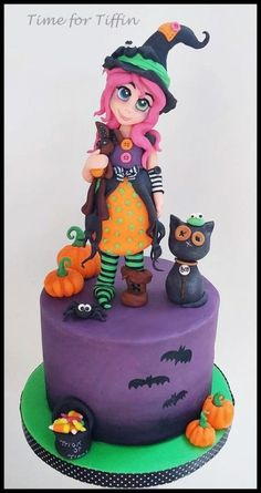 Mable the Witch - cake by Time for Tiffin Halloween Cakes, Fall Halloween, Halloween Ideas, Beautiful Cakes, Amazing Cakes, Fondant, Witch Cake, 25th Birthday, Birthday Cakes