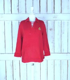 Thick ribbed red cotton Ralph Lauren pullover sweater/red collared Lauren sweater/large by GreenCanyonTradingCo on Etsy