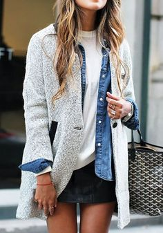 Grey Patchwork Pockets Buttons Long Sleeve Casual Coat