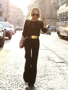 Black pants with gold belt