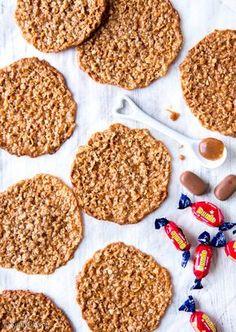 Dumle-kauralastut | Reseptit | Kinuskikissa Sweet Bakery, Savoury Baking, Sweet Pastries, Tasty Bites, No Bake Cookies, Sweet Recipes, Sweet Tooth, Food And Drink, Yummy Food