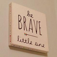 gender neutral modern woodland nursery | be brave little one - diy canvas