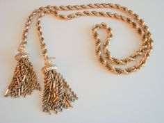 70s Monet Lariat Chunky Gold Plated Tasseled Necklace by JoysShop, $36.95