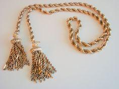 70s Monet Lariat Chunky Gold Plated Tasseled Necklace by JoysShop, $36.95