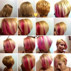 Hair transformation symmetrical short haircut with hot pink highlights on blonde hair. #hairbyMichell #GiannilloTheSalon