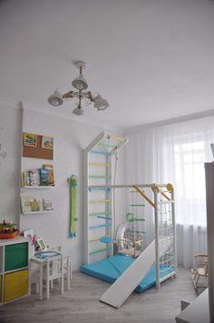 Детская комната мальчика; для двоих детей; скандинавский стиль; икея IKEA; белый; дск; детский спортивный комплекс; шведская стенка