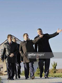 Russian President Dmitry Medvedev ©, flanked by Chairman of... #rogachevo: Russian President Dmitry Medvedev ©, flanked by… #rogachevo