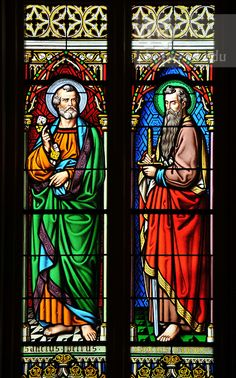 Vysehrad Basilica of Saint Peter and Saint Paul, stained glass   Peter, left, and Saint Paul depicted in stained glass at the Basilica ...