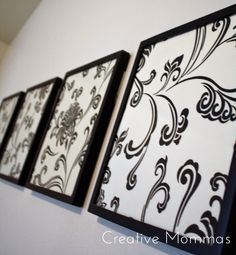 Creative Mommas: Framed Fabric Wall Decor