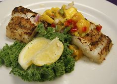 Jamaican Jerk Cod -  Topped with Mango Salsa. - see more featured Fresh Catch menu items at Reel Seafood Co. - www.reelseafoodco.com/menu/fresh-catch