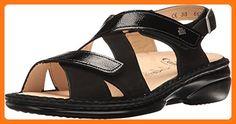 Finn Comfort Women's Leawood-S Black Nubuck/Patent Sandal