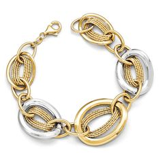 Italian Wide Oval Link Bracelet in 14K Two Tone Gold, 7.5 Inch. Two tone 14k yellow and white gold hollow design. Graduated style, approximately 25mm in the center. Length including the lobster clasp is 7.5 inches. Average weight is 13.15 grams. Includes our custom gift box.