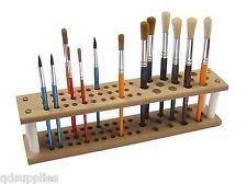 Artist Wooden Paint Brush Stand Holder Holds 45 Assorted Brushes Pre School 7030