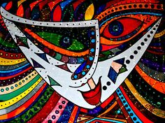 """""""Abstract Expressive Face"""" artwork by Marie Jamieson at FAA. Ink on heavy paper."""