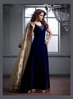 Navy Blue Velvet Anarkali Suit With Jacket 82566