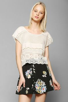Kimchi Blue Knit Allover Print Snap-Front Circle Skirt #urbanoutfitters