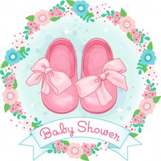 Little Girl Shoes, Baby Shower With Bow And Flower Wreath Little Girl Shoes, Cute Baby Shoes, Cute Little Girls, Baby Shower Unisex, Ballerina Illustration, Baby Shower Clipart, Baby Drawing, Baby Box, Welcome Baby