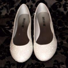 Soft White Glitter Bridal Shoes Wedding by AshleyBrooksDesigns
