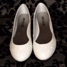 Soft White Glitter Bridal Shoes Wedding by AshleyBrooksDesigns