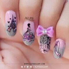 Cinderella Nails with Pink and Grey Gradient Nail Art by @alpsnailart | AlpsNailArt