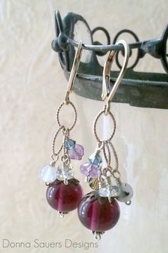 Amethyst Chain Dangle Earrings Handmade by DonnaSauersDesigns, Perfect for February Birthdays $56