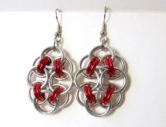 Chainmaille earrings Red and silver Helm chain by #dteam DoBatsEatCats, $ 15.00