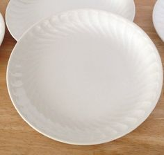 Arita Coronado White Salad Plates w/ Swirl Rim by Santa Clara Ironstone SPAIN…