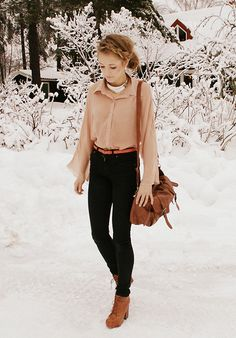 This is timeless and classy. Tan leather, dark jeans, collared blouse tucked in. Love rockin' it.