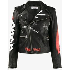 Faith Connexion Hand Painted Biker Jacket (200.210 RUB) ❤ liked on Polyvore featuring outerwear, jackets, black, faith connexion jacket, leather jackets, real leather jackets, genuine leather jackets and biker jackets