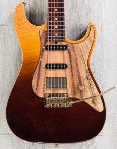 Suhr Standard Pro Custom HSS Electric Guitar, Cocobolo Neck, Chevron Flame Maple Top, Wooden Pickguard - Desert Gradient - Electric Guitars - Guitar - Instruments