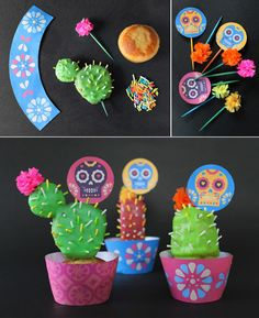 How to make cactus cupcakes with mini paper flower toppers! Easy and fun cupcake activity. https://happythought.co.uk/day-of-the-dead/cactus-cupcakes  #cupcakes #cactus #dayofthedead