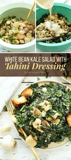 White Bean Kale Salad with Tahini Dressing (GF if you leave off croutons)