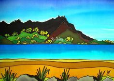 Ruakaka, Whangarei Heads - beautiful art print by New Zealand artist Jo May, fits frame matted in white, full gloss, wrapped. New Zealand Art, Nz Art, Maori Art, Kiwiana, Stained Glass, Northern Lights, Mural Ideas, Art Prints, Landscape