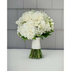 White Rose, Spray Rose, Hydrangea Baby's Breath Brides Bouquet