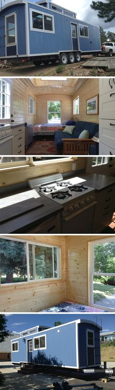 The Blue Caboose: a 230 sq ft tiny house, currently available for sale in Colorado!