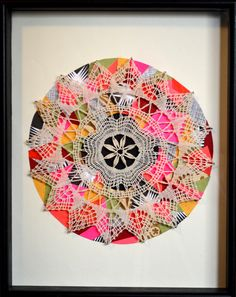 Neat!  I don't really have a place for doilies...but what fun to crochet them!!  Put children's fingerpainting (ex.) as a backing, and hang on the wall! :)