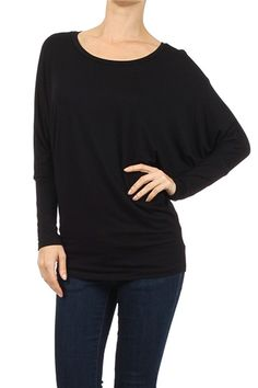 ColorMC Women's Plus Size Solid Dolman Sleeve Knit Tunic Basic Plain Top *** Special  product just for you. See it now! : Plus size shirts