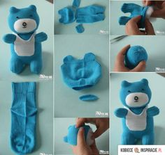 Sock Teddy Bear is part of Diy sock toys - Please like ; Diy Sock Toys, Sock Crafts, Diy Craft Projects, Sewing Projects, Diy Teddy Bear, Bear Toy, Sock Dolls, Rag Dolls, Sock Animals