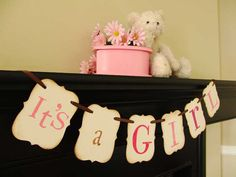 ITS A GIRL painted banner babyshower photoprop door bekahjennings, $15.00