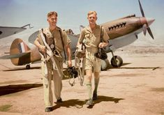 """Australian Flying Officers Peter St George Bruce Turnbull and John Henry William Saunders of No. 3 Squadron RAAF walking away from Curtiss Tomahawk Mark IIB """"Sweet FA"""" at Rosh Pinna, Palestine. Ww2 Aircraft, Military Aircraft, South African Air Force, Colorized Photos, Royal Air Force, Aviation Art, World War Two, Wwii, Awesome"""