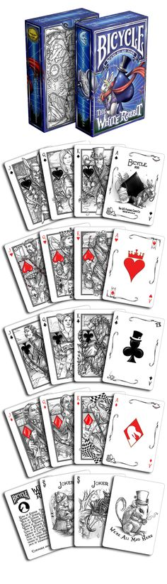 The White Rabbit playing cards by Albino Dragon. Based off of Alice's Adventures in Wonderland by Lewis Carroll, this deck takes you into Wonderland. Now available on www.albinodragon.com
