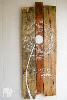 Pallet Art Dandelion Welcome Home Wall Hanging Rustic Shabby Chic - Custom…