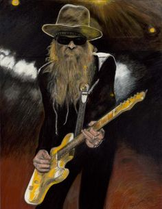 picture of Billy Gibbons! Zz Top Billy Gibbons, Vintage Concert Posters, Texas Music, Funny Caricatures, Best Guitarist, Greatest Rock Bands, Cowboy Art, Music Images, Janis Joplin