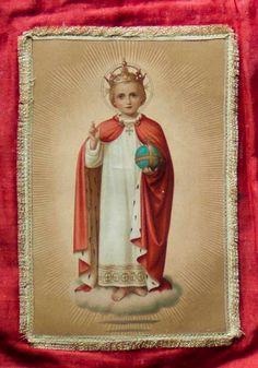 Antique French Textile Religious Church Banner, Red Silk, Christ Child,Halo,Crown,Orb,Ermine.Metallic Silk Braid. Exquisite Religious Icon