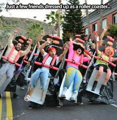 Dressed up as a Roller Coaster, fun parade idea!