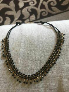 Cuff Jewelry, Bead Jewellery, Bridal Jewelry, Beaded Jewelry, Beaded Necklace, Pearl Necklace Designs, Diana, Black Gold Jewelry, Gold Jewellery Design