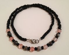 """21"""" Necklace made of Jet Shell and Pink Quartz on a black seed base by ShadefallTreasures, $15.00"""