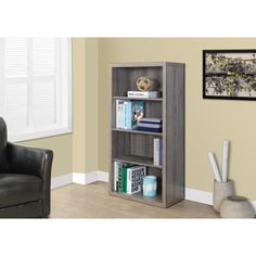 Dark Taupe Reclaimed-look 48-inch Adjustable Shelves Bookcase
