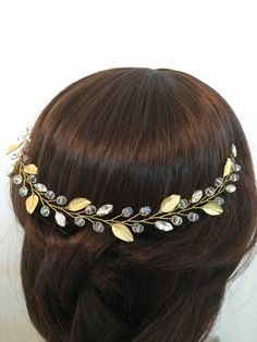 Gold wedding crown wedding headpiece gold bridal by FlowerRainbow