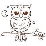 Redwork Woodland Owls